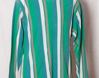 Vintage 80s 90s Vertical Strip Shirt - green blue yellow - Claiborne