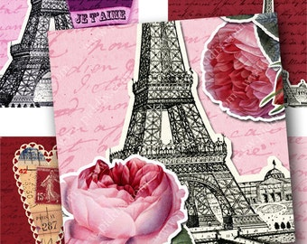 Vintage French Valentine Digital Collage Sheet 1 x 1 and 1.5 Inch Squares Printables Paris Eiffel Tower Flowers Pink Hearts Text piddix 841
