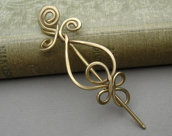 Little Brass Loops and Spirals Celtic Shawl Pin, Scarf Pin, Sweater Brooch Small Pin, Celtic Knot Lace Shawl Pin, Celtic Accessories Knitter