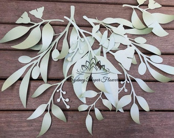 5 EUCALIPTUS leaves templates (set1) video tutorial/svg pdf CriCut Silhouette Cameo download paper flower leaves pattern/paper flower leaves