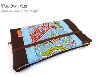 Brown companion woman wallet leather checkbook ethnic companion elastic, leather, fabric wallet, gift card holder