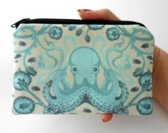 Aqua Little Zipper pouch Coin Purse Gadget Case ECO Friendly Padded Octo Garden