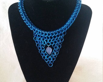 Chainmaille Choker with Leaf Charm