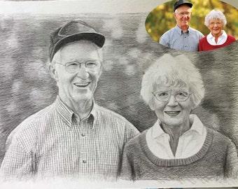 Original pencil drawing portrait painting,custom pencil sketch portrait,photos to drawing,hand painted pencil portrait on paper, couple gift