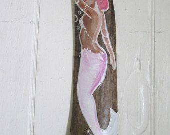 SALE Hand Painted Mermaid Original art hand painted on driftwood Bathroom decor PINK- GREEN- yellow