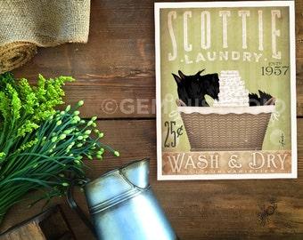Scottie Scottish Terrier dog laundry basket company laundry room artwork signed artists print by stephen fowler geministudio