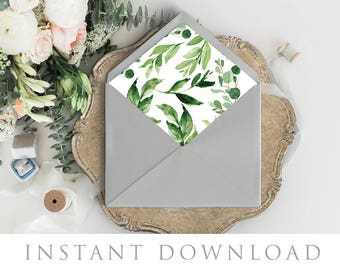 Printable Envelope Liner, 11 Sizes, Euro Flap, Square Flap, A7 Size Envelope Template, DIY Wedding, Envelope Pattern, Woodland