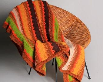 Vintage Autumn Fair Isle Cozy Blanket - Crochet Soft Boho Bohemian Orange Brown Green Couch throw 1970s 70s Handmade Striped Bedding