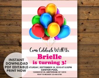 Balloons Invitation, Balloon Birthday Invitation, INSTANT DOWNLOAD, Balloon Invitation, Balloon Birthday, Balloon, for girl