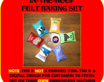 In-The-Hoop Felt Baking Play Food Embroidery  Design set
