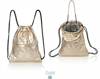 Back bag Gold leather backpack tote - multi-way leather bag SALE drawstring backpack - metallic leather tote - gold leather handbag - judtlv
