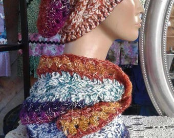 Cable knit slouch hat, matching scarf
