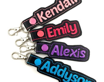 Personalized Name Tag - customized name Keyfob - embroidered keychain - best gifts under 20 -backpack tag -summer camp- school supplies