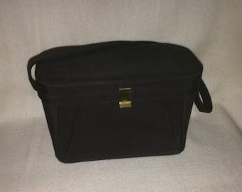 Brown Fabric Handbag with Leather Interior