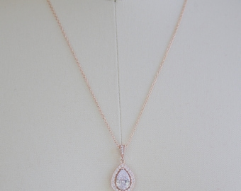 Pear Drop Necklace Bridal Necklace Rose Gold Cubic Zirconia Best Pear Drop Necklace