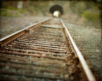 Last Train Home : railroad photography abandoned relic rustic rural country tunnel train tracks haunting 8x10 11x14 16x20 20x24 24x30
