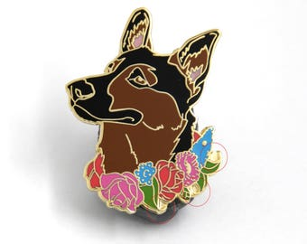 Dog Hard Enamel Pin Birthday Present for Dog Lover German Shepherd Gift Canine jewelry Valentine's Day Cute Lapel Pin For Her