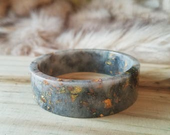 Dusty White and Black Skinny Resin Cuff Bangle