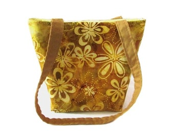 Batik Purse, Small Tote Bag, Floral Purse, Gold, Yellow, Flowers, Handmade Handbag, Teen Purse, Shoulder Bag, Fabric Bag, Cloth Purse