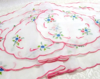 Vintage Embroidered Linens Pink Table Runners Set Organdy Embroidery Organdie Antique Table Linen Matching Dresser Scarves Vintage Linens