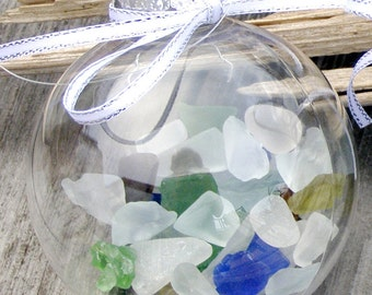 "BEACH DECOR CHRISTMAS Sea Glass Ornament, nautical ornament, coastal ornament, coastal Christmas, nautical Christmas, multicolor, 2.75"""