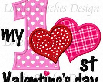 My 1st Valentine Day Heart Applique Machine Embroidery Design NO:0301