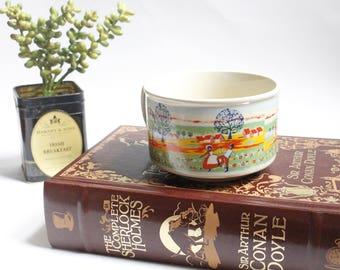 Vintage Bright Pastoral Wide Ceramic Mug with Dancing Pilgrims Farm Life