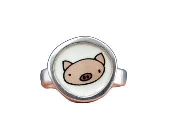 Pig Ring - Sterling Silver and Vitreous Enamel with Original Pig Drawing