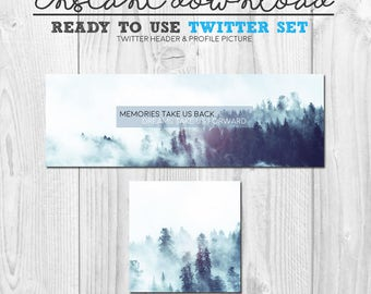 premade twitter cover image, instant download ready to use twitter header banner graphics, premade social media page design, twitter quote