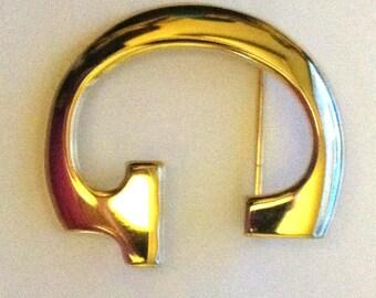Letter G Brooch Vintage Golden Pin Anne Klein Signed