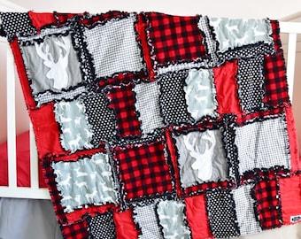 Woodland Crib Set - Gray / Black / Red Crib Bedding Baby Bed Set - Deer Crib Bedding - Boy Crib Bedding- Nursery Quilt/ Sheet/ Skirt/ Bumper