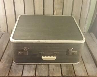 Vintage Striped Suitcase, Striped Tweed Suitcase, Vintage Suitcases, Old Luggage, Vintage Striped Luggage, Old Tweed Suitcase,  Suit Cases,