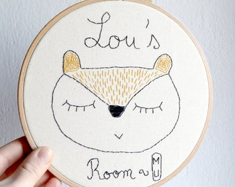 Personalized gift/ Squirrel/Boho decor/Hoop embroidery/Nursery Decor /Baby shower gift/ 8 inches/ Made to order/ fiber art/ woodland nursery
