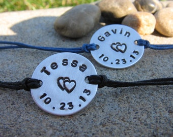 His and Her couples bracelet set - Personalized Bracelets - Custom Bracelets - Couples Bracelet set - Gift for Her - Gift for Him