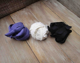 This listing is for 6 yards 2 of each color black purple white