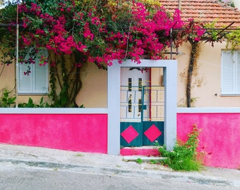 Home Sweet Home Pink Flowers Wall Art, Cute Gift Ideas for Pink Lovers, Pink Blooms Framed Print, Mediterranean Street Photography in Pink
