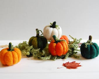 Needle Felted Pumpkins - Handmade Pumpkin Decor, Felt Pumpkins, Squash, Halloween Decor, Pumpkin Decorations, Autumn Ornaments, Fall Decor