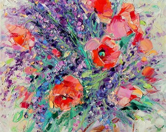 Lavender painting,  Poppies painting, Flowers, Bright painting, Original painting, Oil painting, Paletter knife, Oil on canvas, Best gift