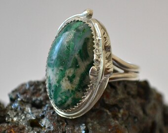 Sterling silver chrysocolla ring with hand forged leaf.  size 8