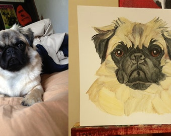 CUSTOM Watercolor Pencil Pet Portrait from Your Photos