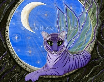 Tiger Art Original Cat Painting Pixie Fairy Cat Gothic Moon Stars Fantasy Cat Art Original Canvas Painting 12x16 Art For Cat Lover