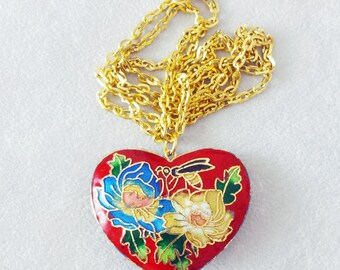 Vintage Cloisonne Heart Necklace, Long Boho Frida Kahlo style Necklace, Red Heart Pendant, Unique Christmas Gift for her, Best friend gift