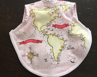 Bib, bapron, baby girl bib, toddler bib, terry bib, tie bib, Sarah Jane fabric, baby bib, baby girl gift, map fabric, 6-18 months