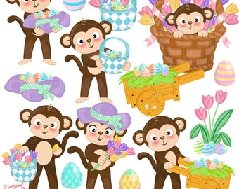 Easter Monkeys Clip Art Set