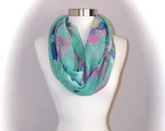 Floral mint color spring scarf