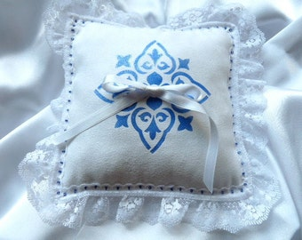 Something Blue Ring Bearer Pillow in White Ultrasuede