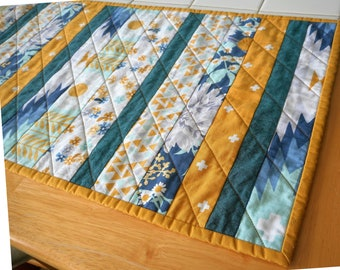 Turquoise yellow quilted table runner, handmade patchwork topper, modern kitchen mat, cotton and steel fabrics, fabric dining bohemian quilt