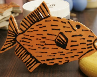 Hand made, Triggerfish, Tile for mosaic, or any Art project. Crackle Finish