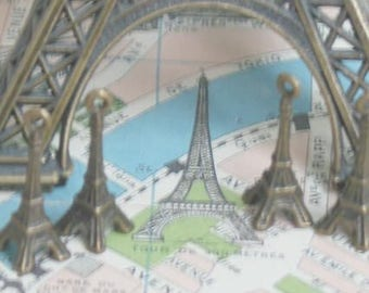 Eiffel Tower Charms Imported from France Antique Brass Patina Set of 6