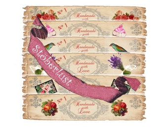 INSTANT DOWNLOAD auf  A 4 - 6 x label for you - Handmade with love - Soap Rose Cupcake bird vintage Label